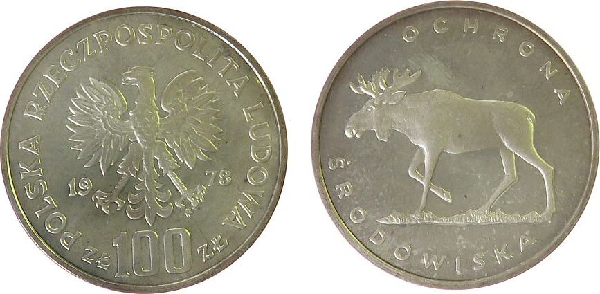 100 Zlotych 1978 Polen Ag Elch, Patina, Parch. 281 pp