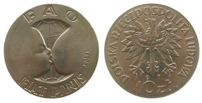 10 Zlotych 1971 Polen KN Proba, FAO, Mutter+Kind unz