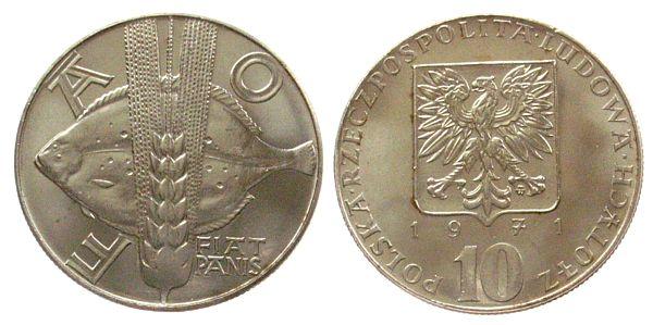 10 Zlotych 1971 Polen KN FAO, Steinbutt, Schön 57 unz