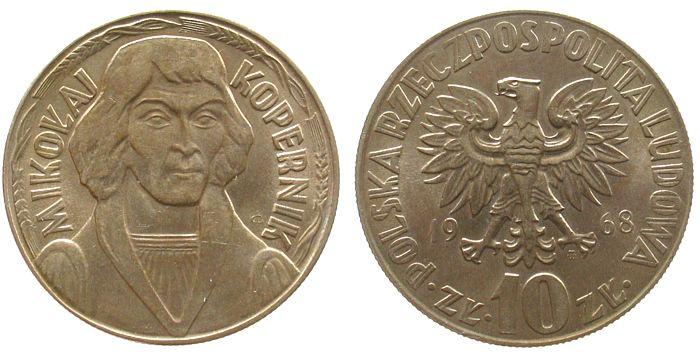 10 Zlotych 1968 Polen KN Kopernik unz