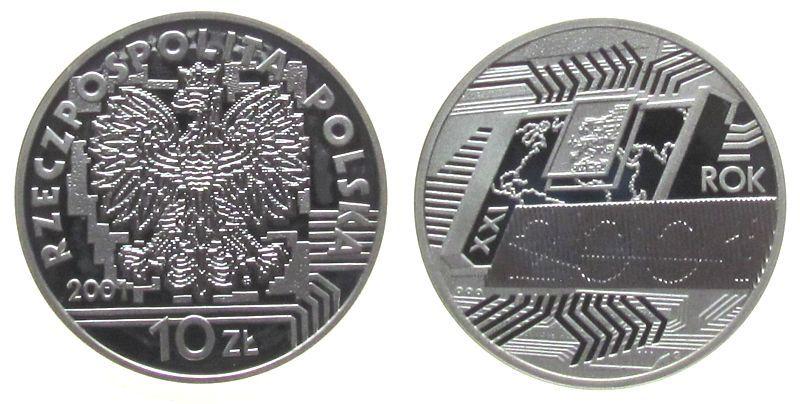10 Zlotych 2001 Polen Ag Christliche Jahrtausendwende pp