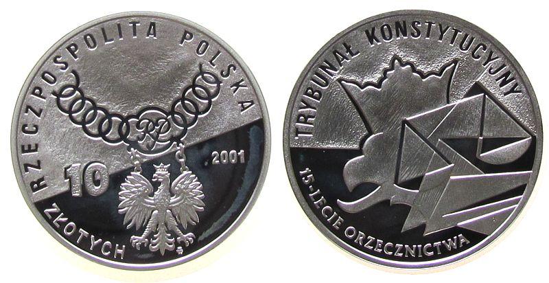 10 Zlotych 2001 Polen Ag 15 Jahre Verfassungsgericht, winziger Fleck pp