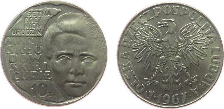 10 Zlotych 1967 Polen KN Marie Curie unz