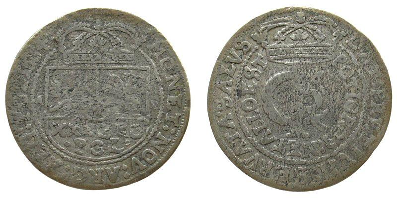 1 Gulden 1664 Polen Ag Johann Casimir (1649-1668), Timpfe, AT schön