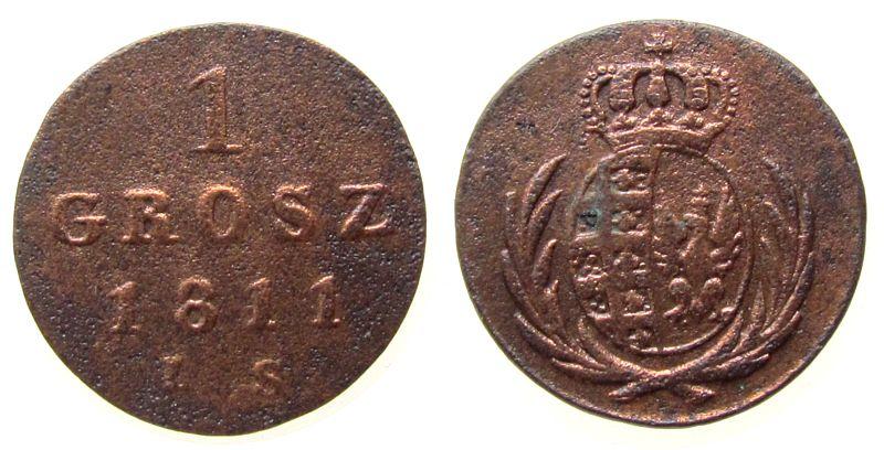 1 Grosz 1811 Polen Ku Polen-Herzogtum Warschau, korrodiert ss
