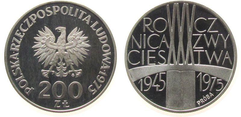 200 Zlotych 1975 Polen Ag Probe pp