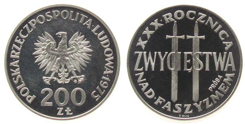 200 Zlotych 1975 Polen Ag Faschismus, zwei Schwerter, Probe pp