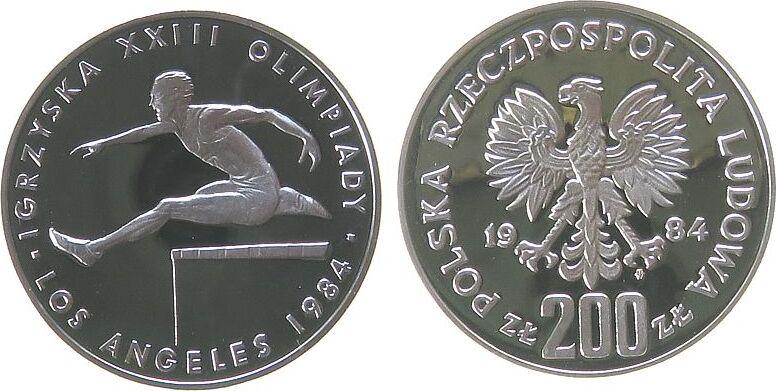 200 Zlotych 1984 Polen Ag Olympiade Los Angeles, Hürdenlauf, minimal fleckig pp