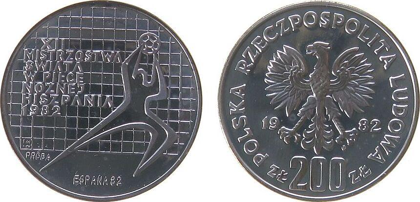 200 Zlotych 1982 Polen Ag Fußball WM, Probe, Torwart nach rechts pp