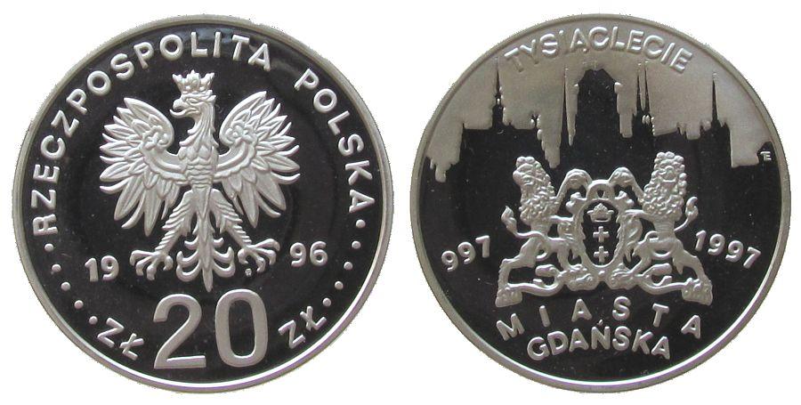 20 Zlotych 1996 Polen Ag 1000 Jahre Danzig pp