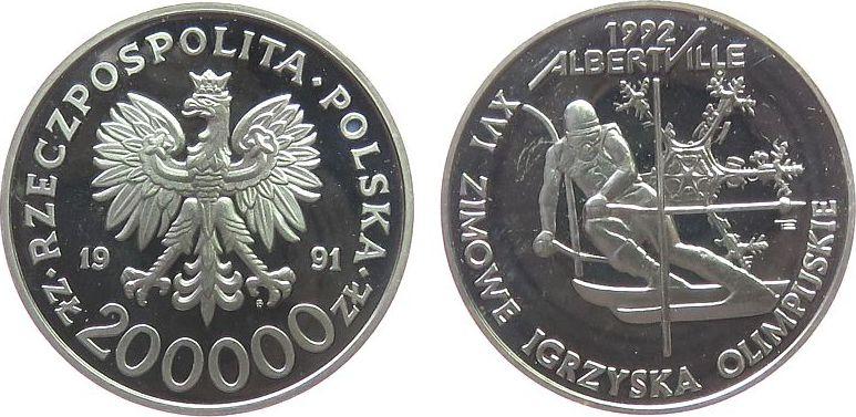 200000 Zlotych 1991 Polen Ag Olympiade Abfahrtslauf, fleckig pp