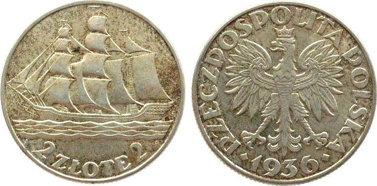 2 Zlote 1936 Polen Ag Segelschiff, Schön 29, zwei kleine Kontaktmarken, kleiner Stempelfehler (mittleres Segel) vz+
