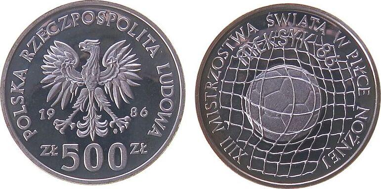 500 Zlotych 1986 Polen Ag Fußball-WM Mexiko 1986 pp