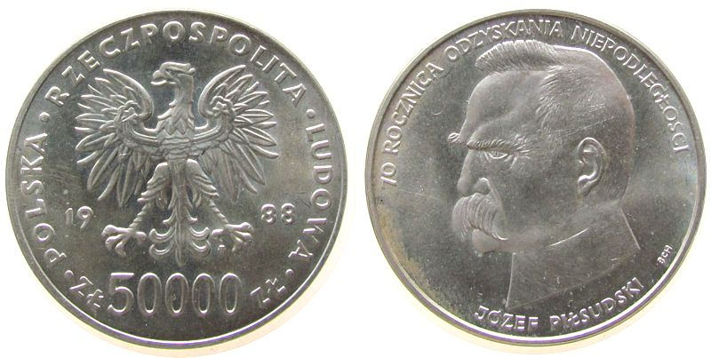 50000 Zlotych 1988 Polen Ag 70 Jahre Unabhängigkeit Pilsudsky unz