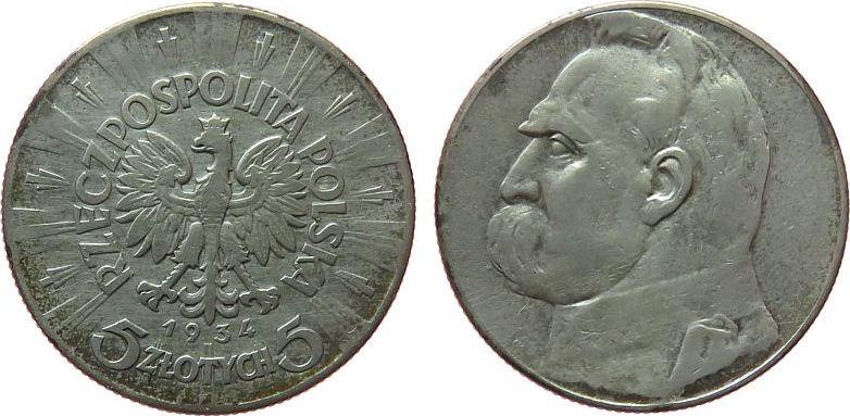 5 Zlotych 1934 Polen Ag Pilsudski fast ss