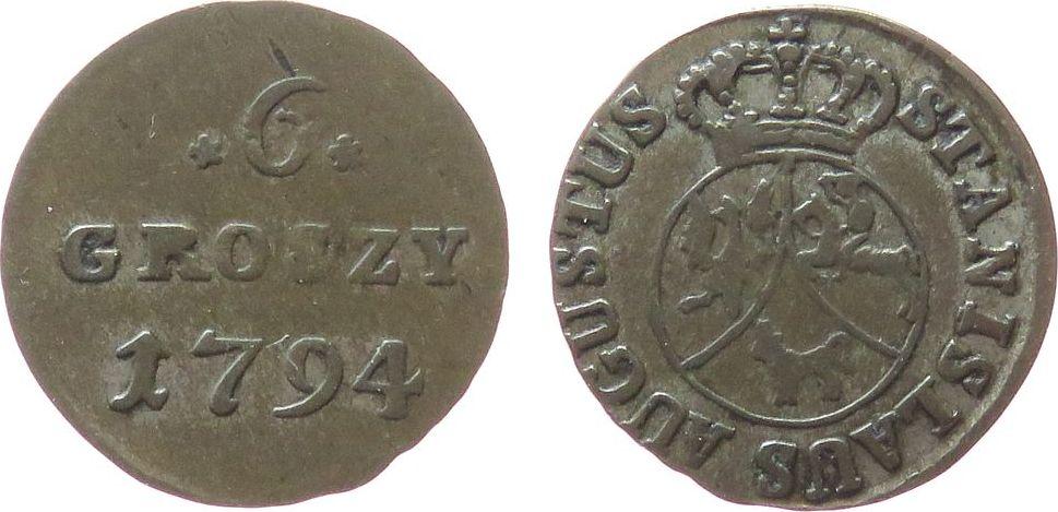 6 Groszy 1794 Polen Ku Stanislaus August (1764-1796), polnischer Nationalaufstand ss