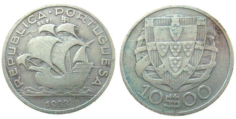 10 Escudos 1933 Portugal Ag Republik ss-