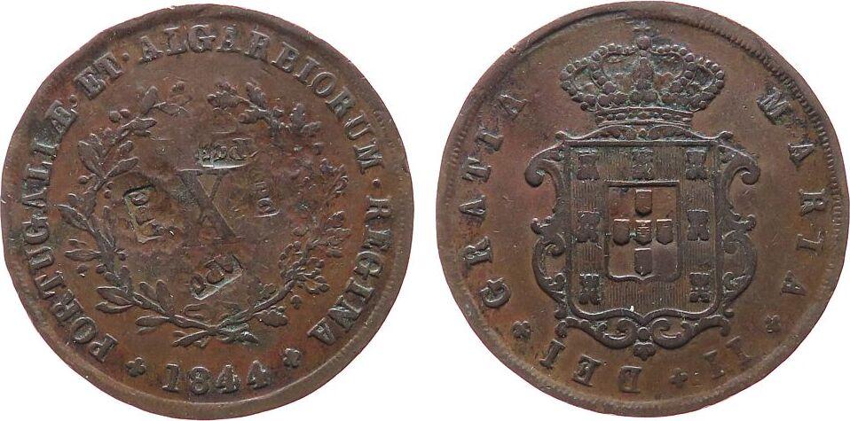 10 Reis 1844 Portugal Ku Maria II, mit Gegenstempeln APC (3x) und APCE (?) schön