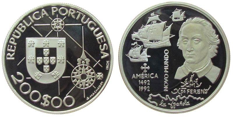 200 Escudos 1992 Portugal Ag Kolumbus, Entdeckung Amerika pp