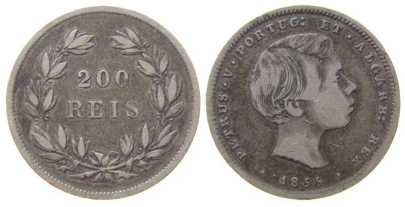 200 Reis 1855 Portugal Ag Petro V fast ss