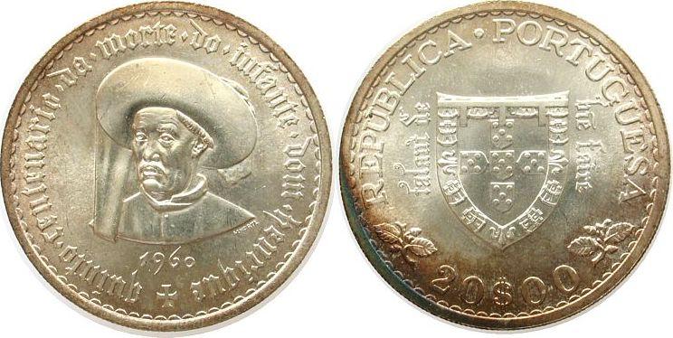 20 Escudos 1960 Portugal Ag Heinrich der Seefahrer unz