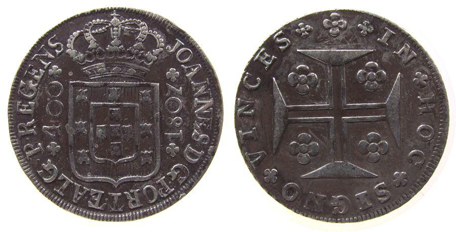 400 Reis 1807 Portugal Ag Joao (1799-1816) ss
