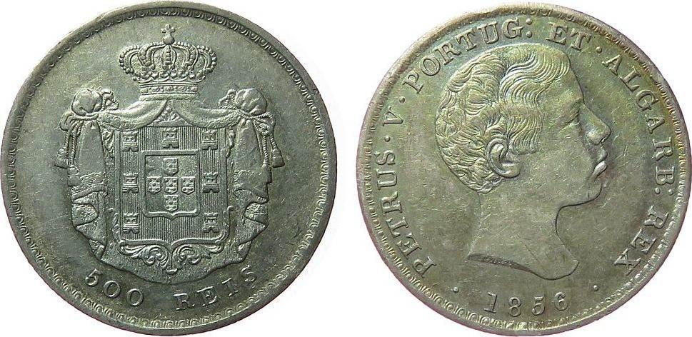 500 Reis 1856 Portugal Ag Petro V, kleine Randfehler vz