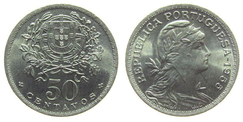 50 Centavos 1955 Portugal KN Wappen unz