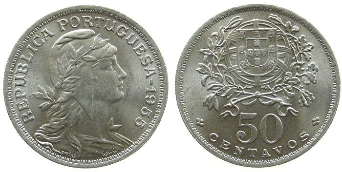 50 Centavos 1955 Portugal KN Schön 35 unz