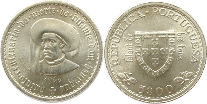 5 Escudos 1960 Portugal Ag Heinrich der Seefahrer unz