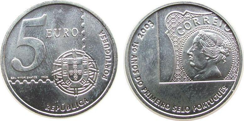 5 Euro 2003 Portugal Ag 150 Jahre portugiesische Briefmarken unz