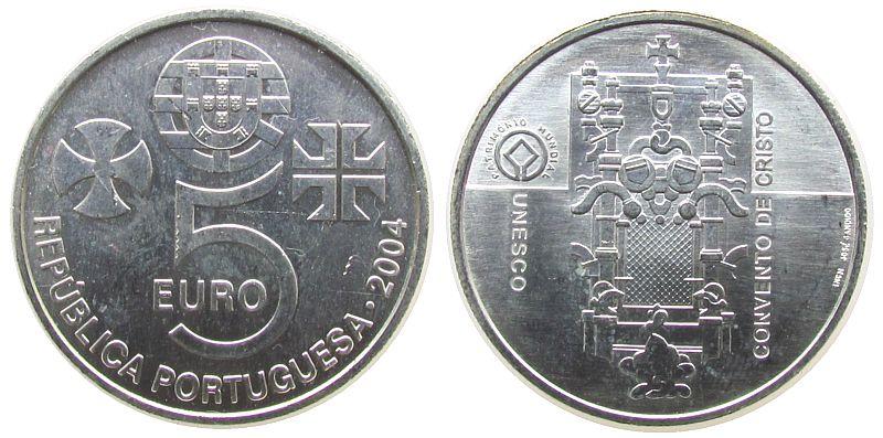 5 Euro 2004 Portugal Ag UNESCO Weltkulturerbe, Christuskloser vz-unc
