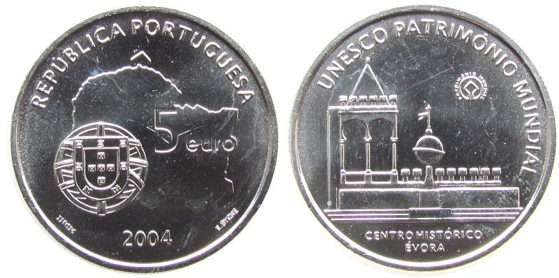 5 Euro 2004 Portugal Ag UNESCO Weltkulturerbe, Altstadt von Évora vz-unc