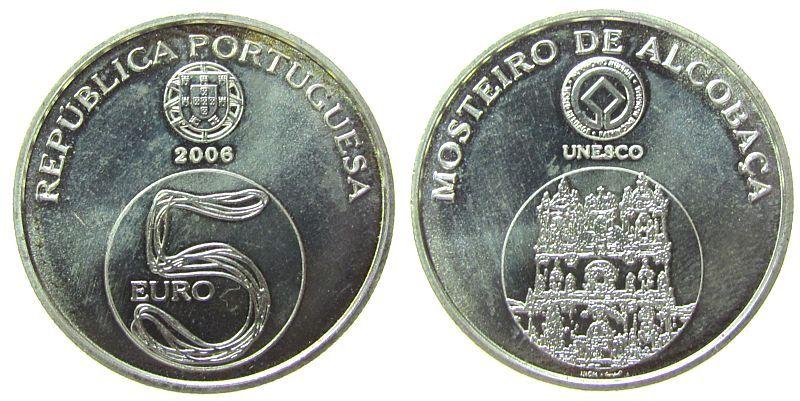 5 Euro 2006 Portugal Ag Kloster von Alcobaca, UNESCO unz