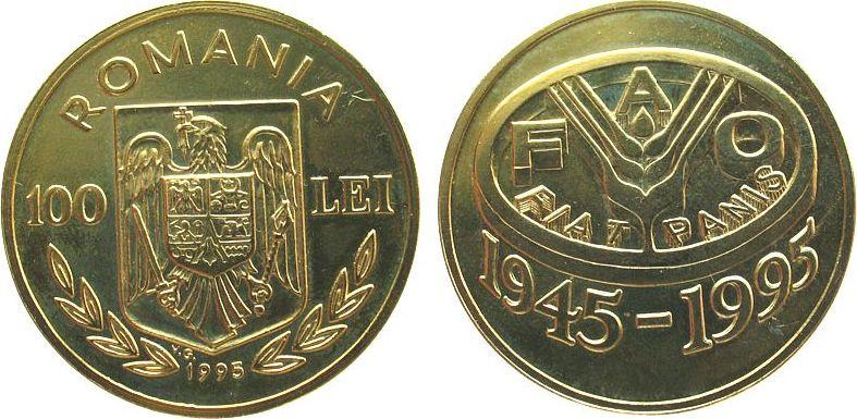 100 Lei 1995 Rumänien Ms 50 Jahre FAO, zaponiert, Probe unz