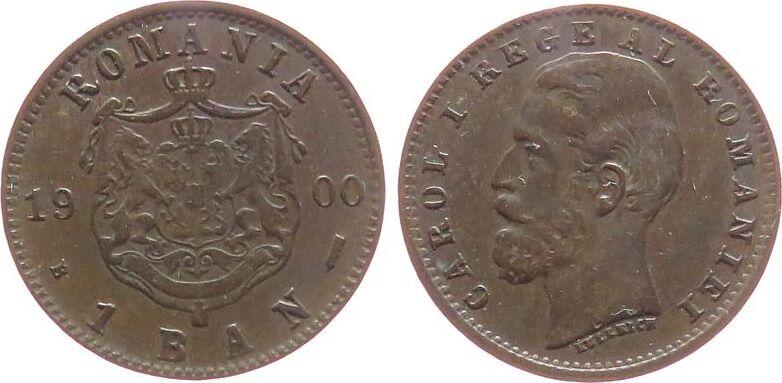 1 Ban 1900 Rumänien Ku Carol I, Schäffer / Stambuliu 043, feine Kratzer unz