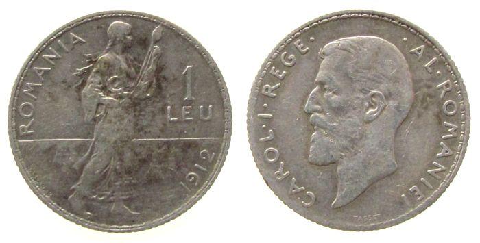 1 Leu 1912 Rumänien Ag Carol I ss