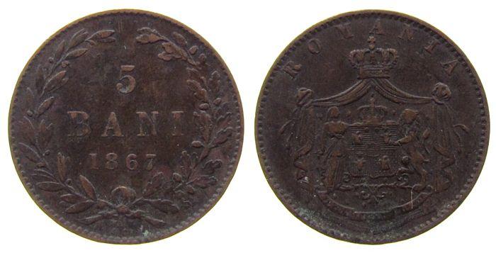 5 Bani 1867 Rumänien Ku Carol I,Watt & Co ss