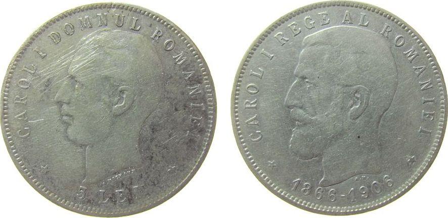 5 Lei 1906 Rumänien Ag Carol I, 40. Regierungsjubiläum, Schäffer / Stambuliu 062 schön