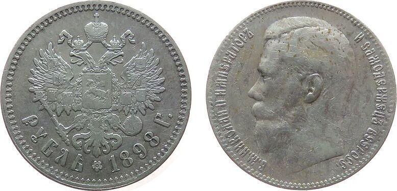 1 Rubel 1898 Rußland Ag Nikolaus II, Uzd.2086 fast ss