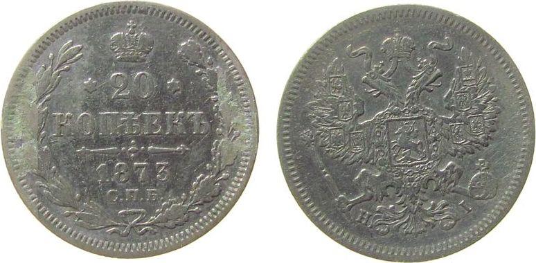 20 Kopeken 1875 Rußland Ag St. Petersburg, Klebereste, etwas geputzt ss