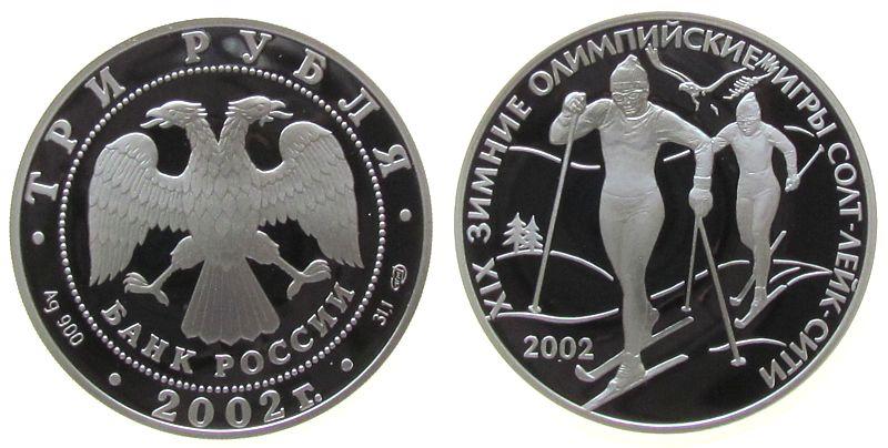 3 Rubel 2002 Rußland Ag Olympische Winterspiele, Ski-Langlauf pp