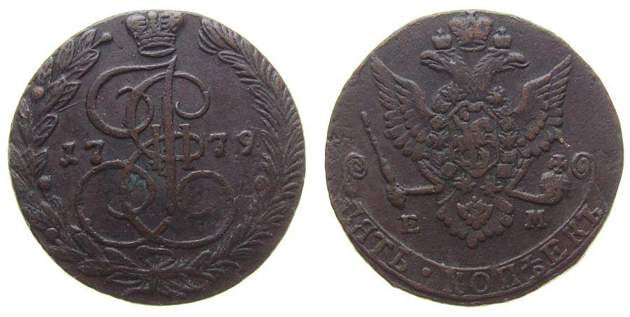 5 Kopeken 1779 Rußland Ku Katharina II, Mzz: EM, Uzd.2748 ss+