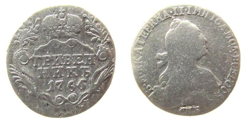 1 Grivennik 1766 Rußland Ag Katharina II, St.Petersburg, gereinigt, zaponiert, Uzenikov 991, 10 Kopeken fast schön