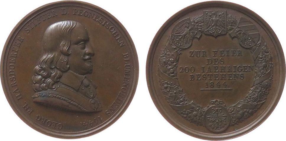 Medaille 1844 Personen Bronze Harsdoerfer Georg (Begründer) - auf das 200-jährige Bestehen des Pegnesischen Blumenordens in Nürnberg, barocke Dichterve vz+