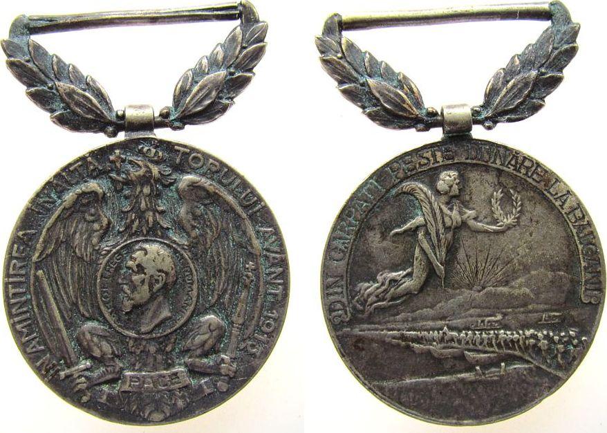 tragbare Medaille 1913 Rumänien Messing versilbert Karl I (1866-1914) auf die Errichtung des Denkmals auf den im russisch-türkischen Krieg entscheidenden Donauü ss