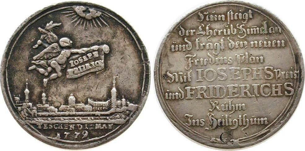Medaille 1779 vor 1914 . Friedrich II (1740-1786), auf den Frieden von Teschen, Genius mit Palmzweig und Schriftrolle über Stadtansicht / Mehrzeiler, m ss