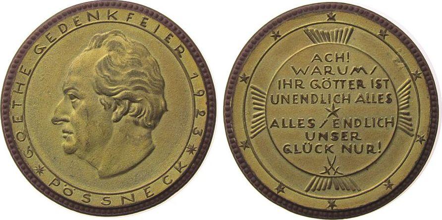 Medaille 1923 Goethe Böttger Steinzeug Goethe (1749-1832), Goethe-Gedenkfeier, Pössneck, ca. 50 MM vz