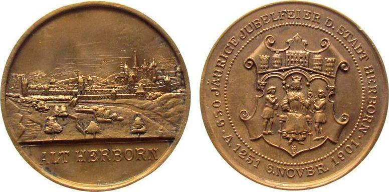 Medaille 1901 Städte Bronze Herborn (Hessen) - auf die 650 Jahrfeier, Stadtansicht / Wappen, ca. 39 MM ss