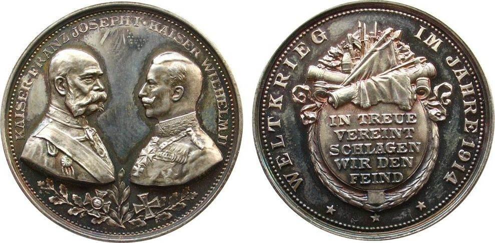 Medaille 1914 erster Weltkrieg Silber Waffenbrüderschaft mit Österreich, Brustbilder der beiden Kaiser einander gegenüber / Schrift, v. oertel, ca. 35,4 MM, ca stgl-